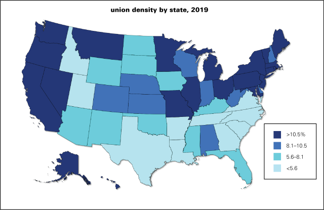 Union density by state 2019