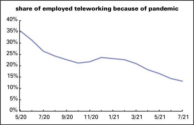 Teleworking share over time